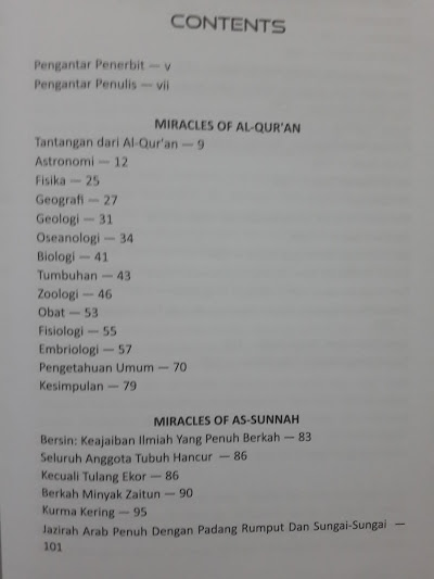 Buku Miracles Of Al-Qur'an & As-Sunnah Daftar Isi