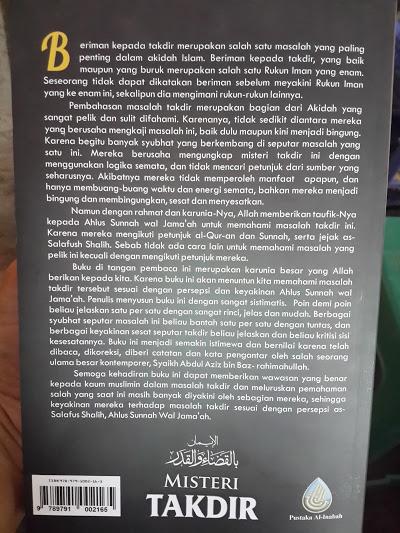 Buku Misteri Takdir Ketentuan Allah Yang Mesti Diyakini Cover Belakang