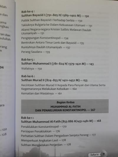 Buku Muhammad Al-Fatih Sang Penakluk Konstantinopel Daftar Isi