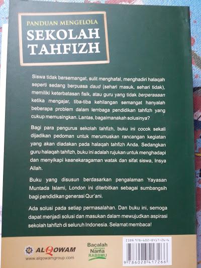 Buku Panduan Mengelola Sekolah Tahfizh Cover Belakang
