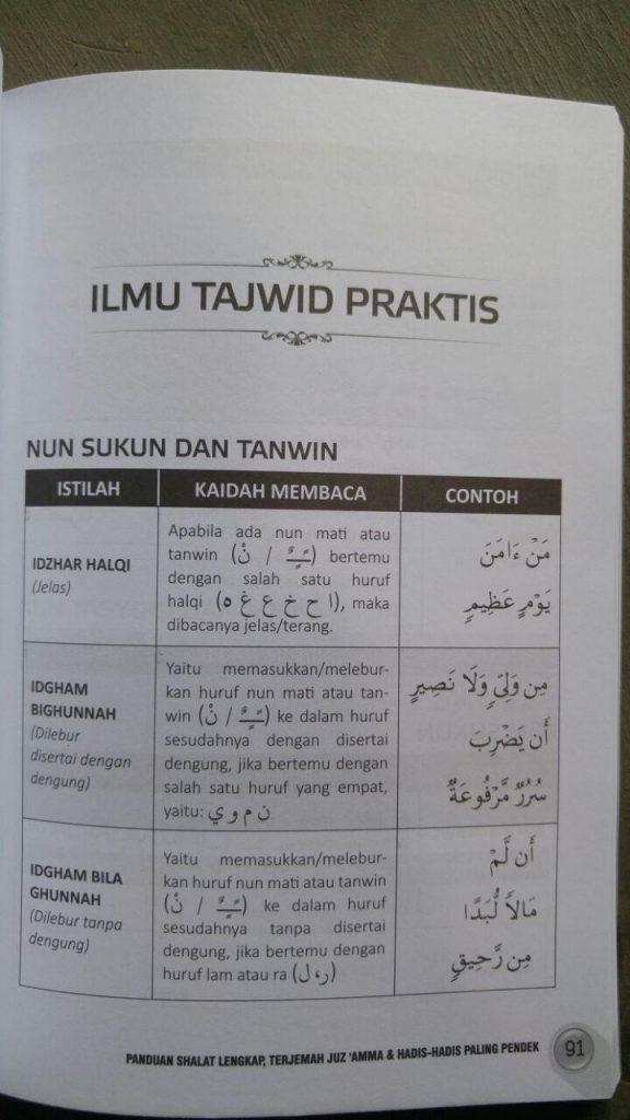 Buku Panduan Shalat Lengkap Terjemah Juz Amma Hadis Pilihan isi