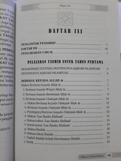 Buku Pelajaran Tauhid Untuk Tingkat Lanjutan Daftar Isi
