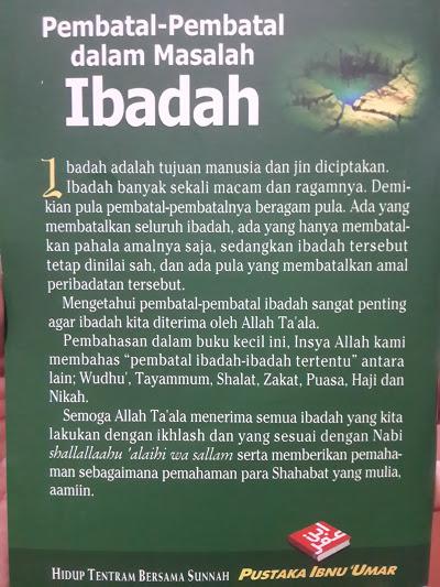 Buku Saku Pembatal Pembatal Dalam Masalah Ibadah Cover 2