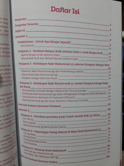 Buku Pendidikan Sejarah Islam Madrasah Ibtidaiyah Daftar Isi