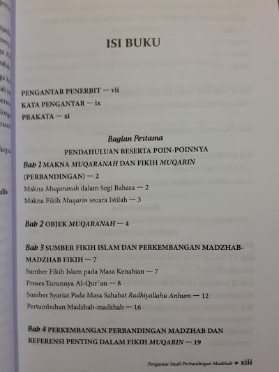 Buku Pengantar Studi Perbandingan Madzhab Daftar Isi