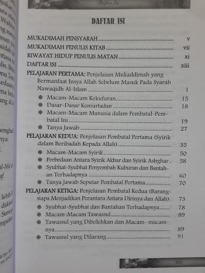 Buku Penjelasan Pembatal Keislaman Daftar Isi