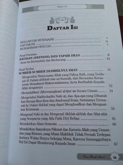Buku Penjelasan Tentang Hakikat Pokok Pokok Dan Buah Iman Daftar Isi