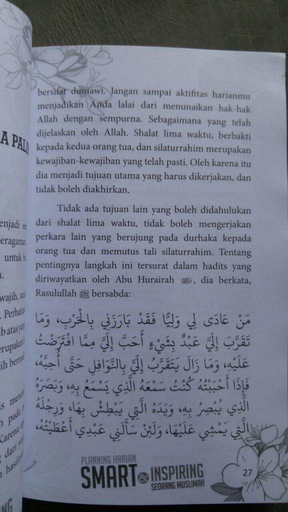 Buku Planning Harian Smart Inspiring Seorang Muslimah isi 2