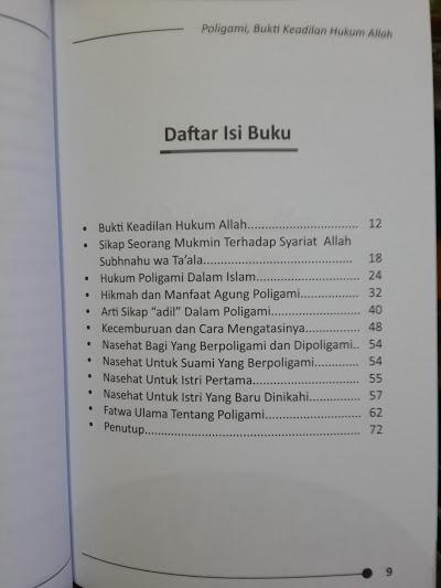 Buku Poligami Bukti Keadilan Hukum Allah Daftar Isi