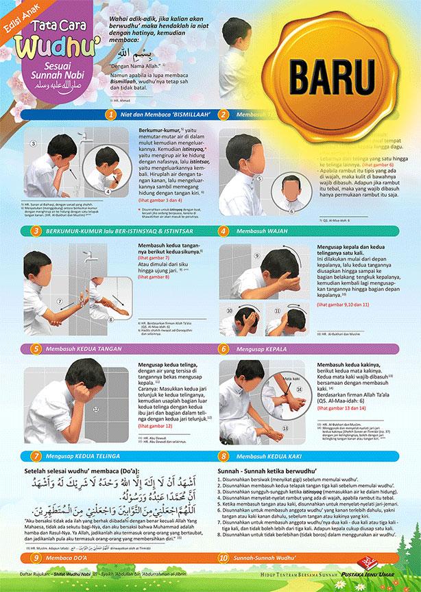 Poster Anak Tata Cara Wudhu Nabi Shalallahu 'Alaihi Wa Salam
