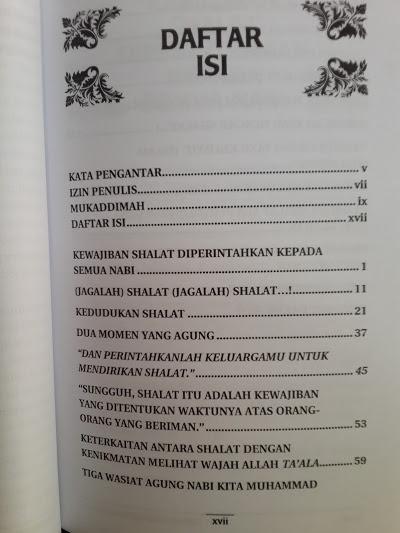 Buku Rahasia Keagungan Shalat Daftar Isi