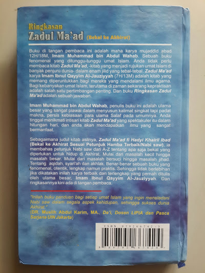 Buku Ringkasan Zadul Ma'ad Bekal Ke Akhirat Cover Belakang
