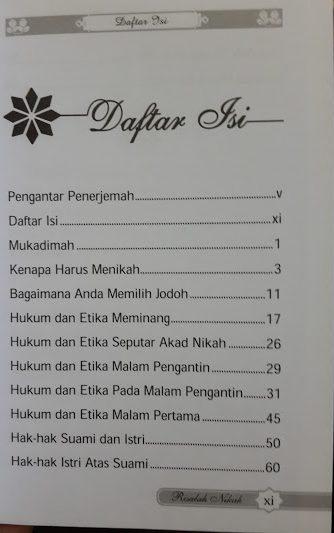 Buku Saku Risalah Nikah Daftar Isi
