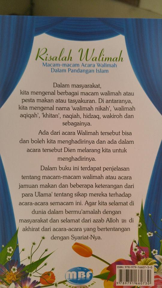 Buku Risalah Macam-macam Walimah Dalam Pandangan Islam cover 2