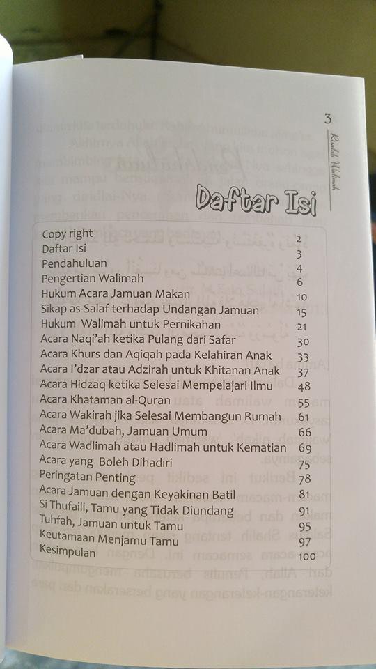 Buku Risalah Macam-macam Walimah Dalam Pandangan Islam isi 2