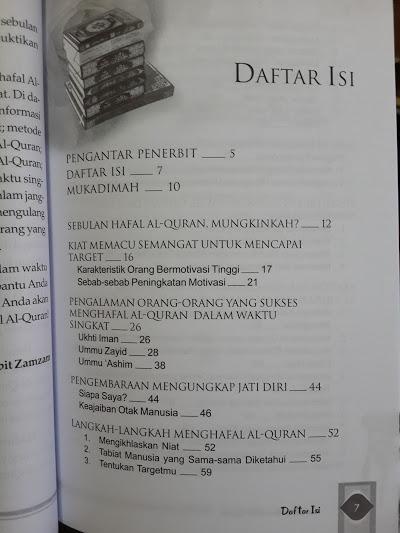 Buku Sebulan Hafal Al-Quran Daftar Isi