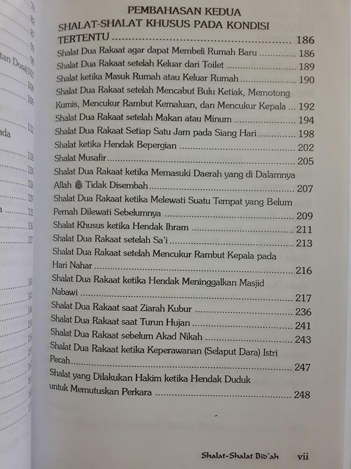 Buku Shalat Shalat Bid'ah Daftar Isi