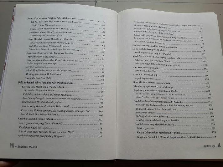 Buku Sharimul Maslul Hukuman Mati Bagi Penghina Nabi Daftar Isi