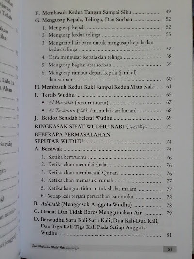 Buku Sifat Wudhu Dan Shalat Nabi Daftar Isi