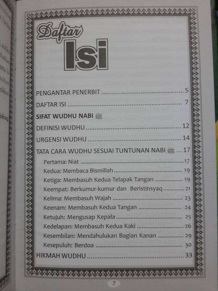 Buku Sifat Shalat Dan Wudhu Nabi Plus Gambar Peraga Daftar Isi