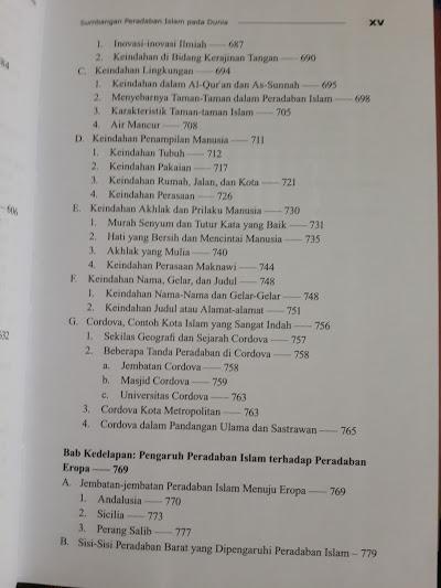 Buku Sumbangan Peradaban Islam Pada Dunia Daftar Isi