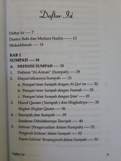 Buku Sumpah Dan Nadzar Daftar Isi