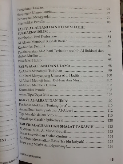 Buku Syaikh Al-Albani Dihujat Daftar Isi