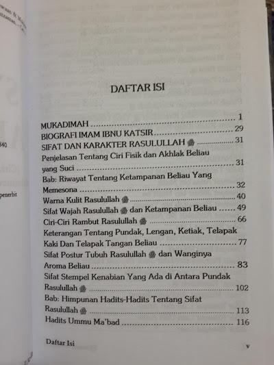 Buku Syama'il Ar-Rasul Ciri Karakter Keistimewaan Rasul Daftar Isi