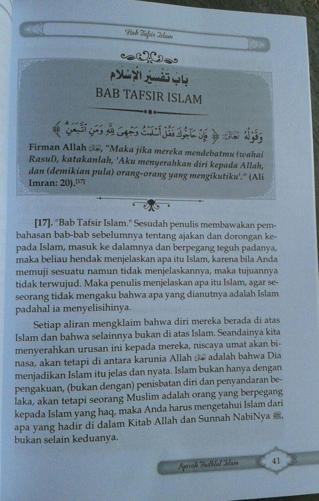 Buku Syarah Fadhlul Islam Kesempurnaan & Keagungan Islam isi 2