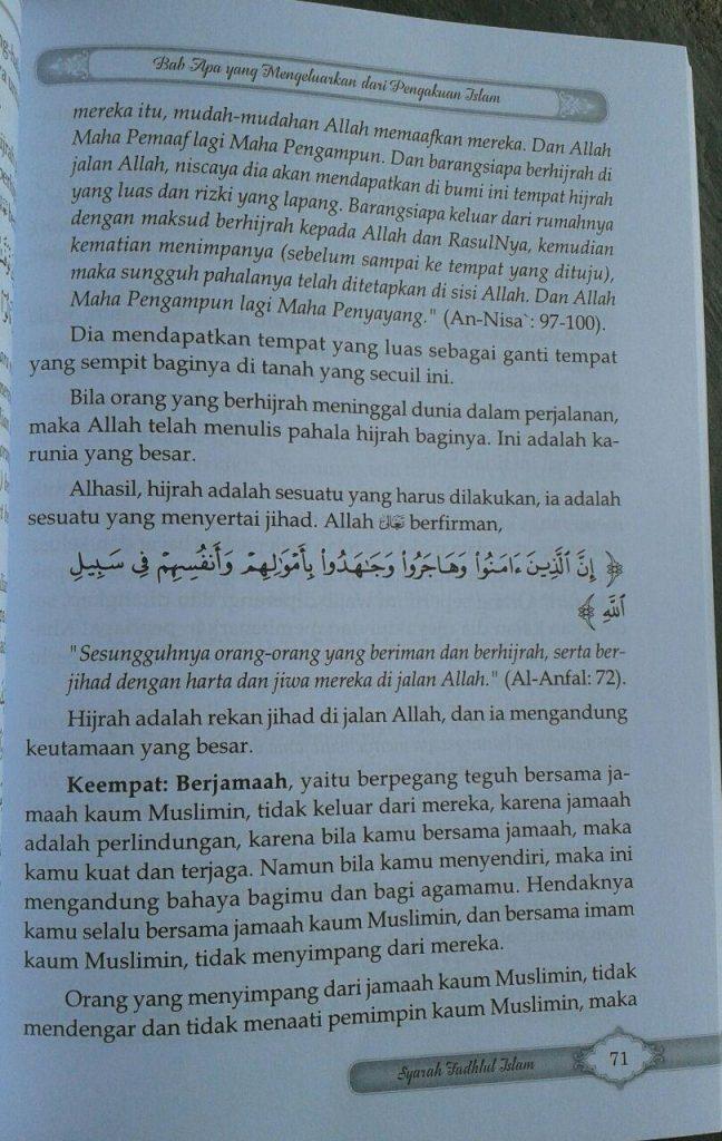 Buku Syarah Fadhlul Islam Kesempurnaan & Keagungan Islam isi 3