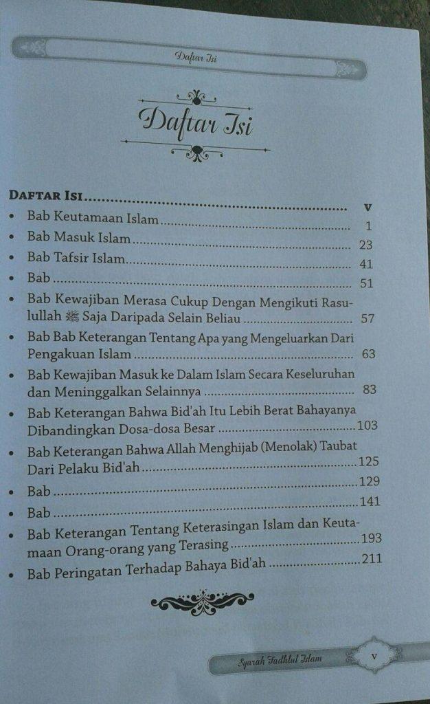 Buku Syarah Fadhlul Islam Kesempurnaan & Keagungan Islam isi