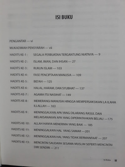 Buku Syarah Hadits Arbai'in Syaikh Al-Utsaimin Daftar Isi
