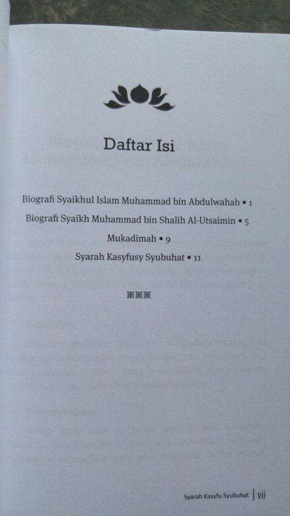 Buku Syarah Kasfu Syubhat Membantah Syubhat Persoalan Tauhid isi