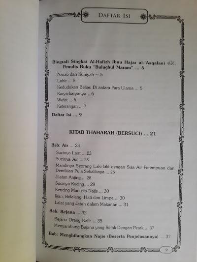 Buku Syarah Ringkas Bulughul Maram Daftar Isi