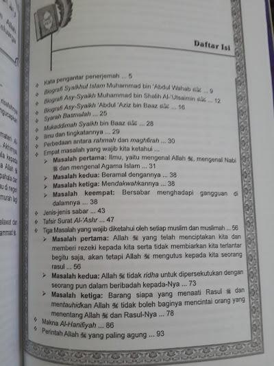 Buku Syarh Ats-Tsalatsatil Ushul Penjelasan 3 Landasan Pokok Daftar Isi