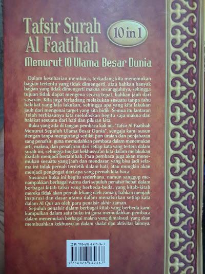 Buku Tafsir Surah Al Faatihah Menurut 10 Ulama Besar Dunia Cover 2