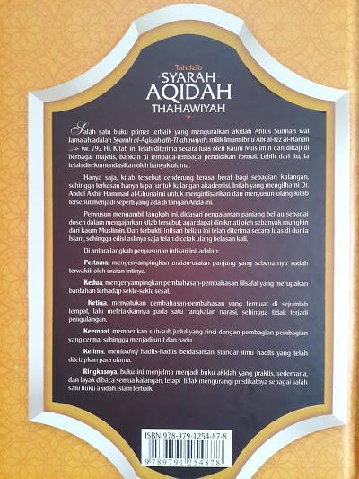 Buku Tahdzib Syarah Aqidah Thahawiyah Cover Belakang