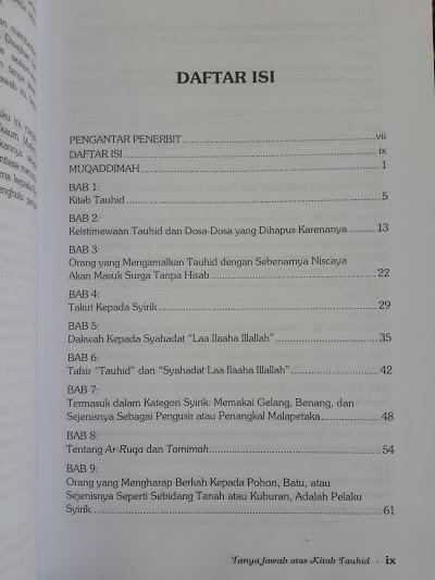 Buku Tanya Jawab Atas Kitab Tauhid Daftar Isi