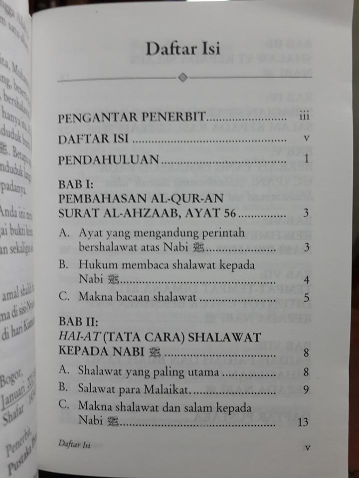 Buku Saku Tata Cara Bershalawat Kepada Nabi Muhammad Daftar Isi