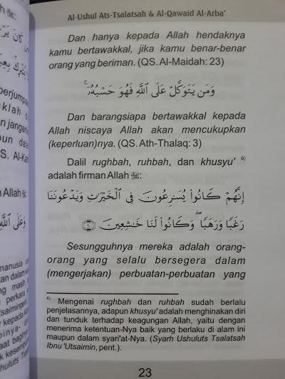 Buku Saku Terjemah Dan Matan Ushul Tsalatsah Qawaid Arba Isi