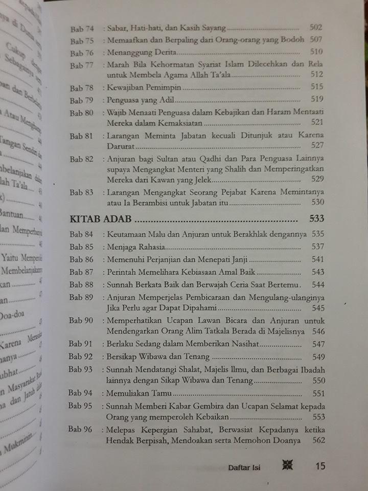 Buku Terjemah Riyadhus Shalihin Imam An-Nawawi Daftar Isi 2