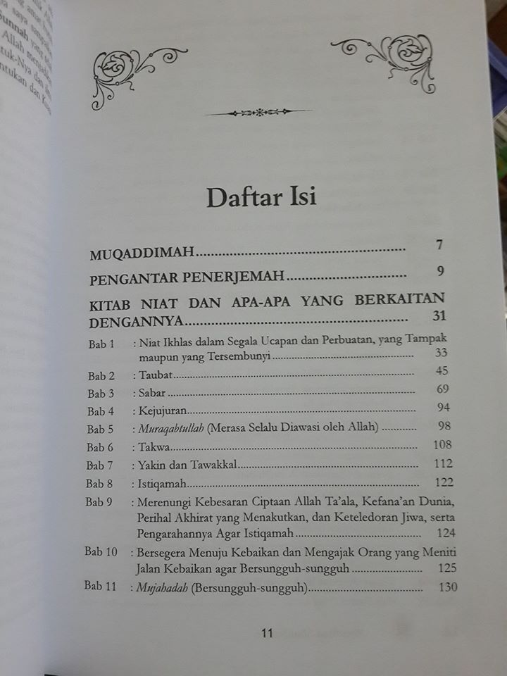 Buku Terjemah Riyadhus Shalihin Imam An-Nawawi Daftar Isi