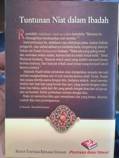 Buku Saku Tuntunan Niat Dalam Ibadah Cover Belakang