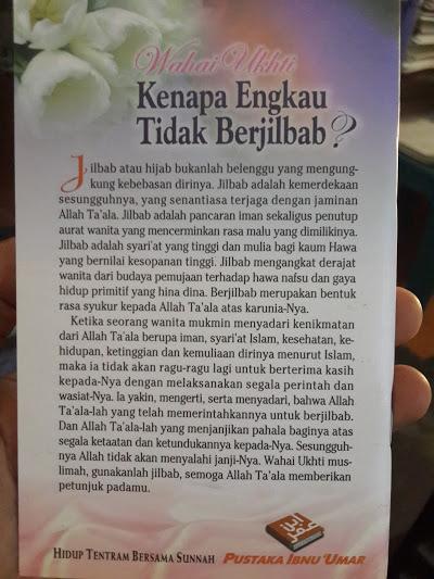 Buku Saku Wahai Ukhti Kenapa Engkau Tidak Berjilbab Cover Belakang