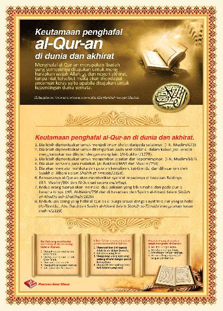 Poster Keutamaan Penghafal Al-Qur'an Di Dunia Dan Akhirat Besar
